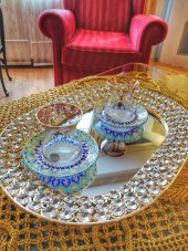 Yargıcı, Gümüş Metal Kristal Taş Süslemeli Aynalı Tepsi İthal