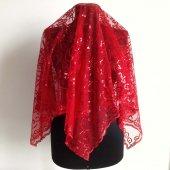Kırmızı Pullu Gelin Duvak Eldiven Komple Set