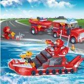 Banbao 392 Parça İtfaiye Seti Eğitici Puzzle Oyuncak Serisi Yangın Söndürme Ekibi Aktivite Lego-2