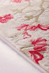 Kırmızı Çiçek Desenli Vizon Zemin Yatak Odası Halısı - HS96010E-2