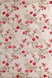 Kırmızı Çiçek Desenli Vizon Zemin Yatak Odası Halısı - HS96010E-3
