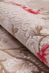 Kırmızı Çiçek Desenli Vizon Zemin Yatak Odası Halısı - HS96010E-4