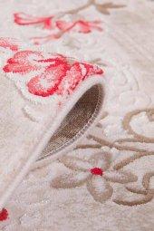 Kırmızı Çiçek Desenli Vizon Zemin Yatak Odası Halısı - HS96010E-5