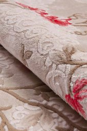 Kırmızı Çiçek Desenli Vizon Zemin Yatak Odası Halısı - HS96010E-6