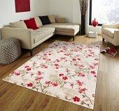 Kırmızı Çiçek Desenli Vizon Zemin Yatak Odası Halısı - HS96010E-7