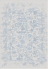 Mavi Renk Çiçek Desenli Bordürlü Salon Halısı . Hs97055t