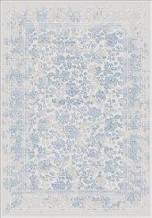Mavi Renk Çiçek Desenli Bordürlü Salon Halısı .- HS97055T-2