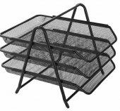 Kraf 460g Perfore Evrak Rafı Metal 3 Katlı Siyah