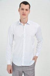 Saten Fit Düz Uzun Kollu Gömlek Beyaz