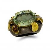 Pırlanta Yeşil Quartz Taşlı Altın Yüzük