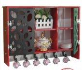 Ahşap 2 Gözlü Oymalı Model Bardaklık Mutfak Rafı Terek