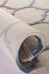 Su Damlası Desenli Vizon, Mavi Oturma Odası Halısı - HS97057T-5