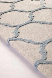 Su Damlası Desenli Vizon, Mavi Oturma Odası Halısı - HS97057T-6
