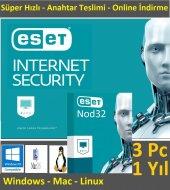 Eset Nod32+internet Security Antivirüs 3 Pc 1...
