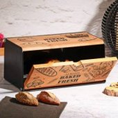 Taboo Desenli Ahşap Ekmeklik Ekmek Saklama Dekoratif