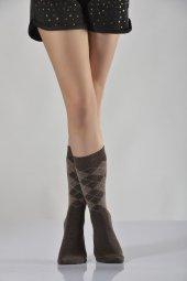 Tam Havlu Ekoseli Bayan Soket Çorabı Kahverengi B Art051