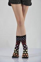 ıdilfashion Kadın Rengarenk Puantiyeli Soket Çorabı Siyah B