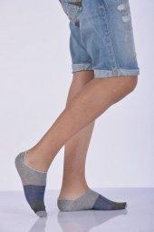 Desenli Dört Topuk Erkek Babet Çorabı Açık Gri E Art253