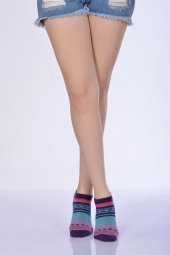 Xox Desen Kadın Patik Çorabı Lila B Art023
