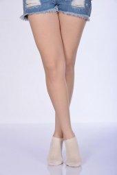 Kabartmalı Kadın Patik Çorabı Krem B Art023