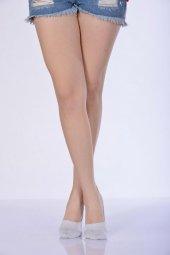 Simli Kadın Babet Çorabı Beyaz B Art053