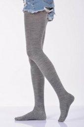 Düz Renk Külotlu Kadın Çorabı - Açık Gri B-ART008-2