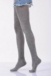 Düz Renk Külotlu Kadın Çorabı - Açık Gri B-ART008-3