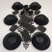 Keramika Ege 37 Parça 6 Kişilik Yemek Takımı Mat Siyah