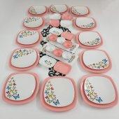 Keramika Kelebek 40 Parça 12 Kişilik Kahvaltı Takımı Pembe