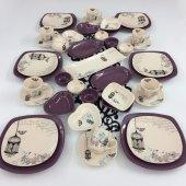 Keramika Retro 43 Parça 6 Kişilik Kahvaltı Takımı Mor