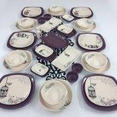 Keramika Retro 41 Parça 6 Kişilik Yemek Takımı Mor