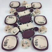 Keramika Retro 39 Parça 6 Kişilik Kahvaltı Takımı Mor