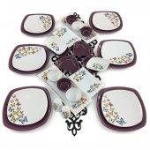 Keramika Kelebek 30 Parça 6 Kişilik Kahvaltı Takımı Mor