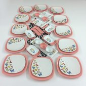 Keramika Kelebek 45 Parça 12 Kişilik Kahvaltı Takımı Pembe