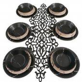 Keramika Mermer 18 Parça 6 Kişilik Yemek Takımı Siyah Krem Mat