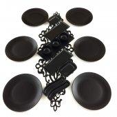 Keramika Ege 16 Parça 6 Kişilik Kahvaltı Takımı Mat Siyah