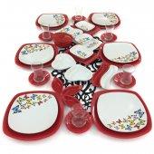 Keramika Kelebek 40 Parça 6 Kişilik Kahvaltı Takımı Kırmızı