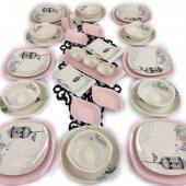 Keramika Retro 36 Parça 6 Kişilik Yemek Takımı Açık Pembe