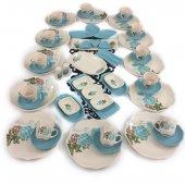 Keramika Turkuazgül 56 Parça 12 Kişilik Kahvaltı Takımı Turkuaz