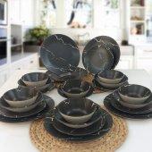 Keramika 24 Parça 6 Kişilik Yemek Takımı Siyah Beyaz Mermer