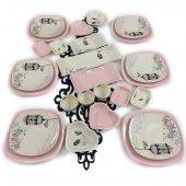 Keramika Retro 26 Parça 6 Kişilik Kahvaltı Takımı Açık Pembe