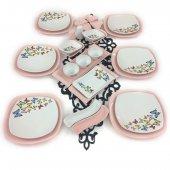Keramika Açık Pembe Kelebek 30 Parça 6 Kişilik Kahvaltı Takımı