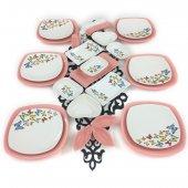 Keramika Pembe Kelebek 27 Parça 6 Kişilik Kahvaltı Takımı