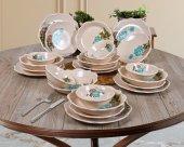 Keramika Turkuaz Gül 24 Parça 6 Kişilik Kahvaltı Takımı