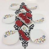 Keramika Kelebek Kırmızı 16 Parça 6 Kişilik Kahvaltı Takımı