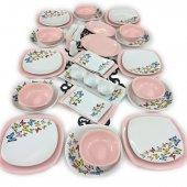 Keramika Pembe Açık Kelebek 38 Parça 6 Kişilik Yemek Takımı