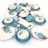 Keramika Turkuaz Gül 26 Parça 6 Kişilik Günlük Yemek Takımı