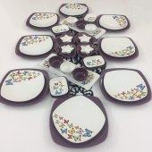 Keramika Kelebek Mor 40 Parça 8 Kişilik Kahvaltı Takımı