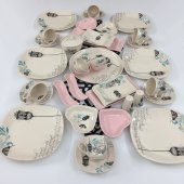 Keramika Retro Açık Pembe 37 Parça 6 Kişilik...
