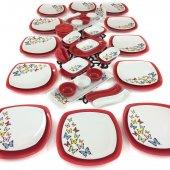 Keramika Kelebek Kırmızı 51 Parça 12 Kişilik Kahvaltı Takımı